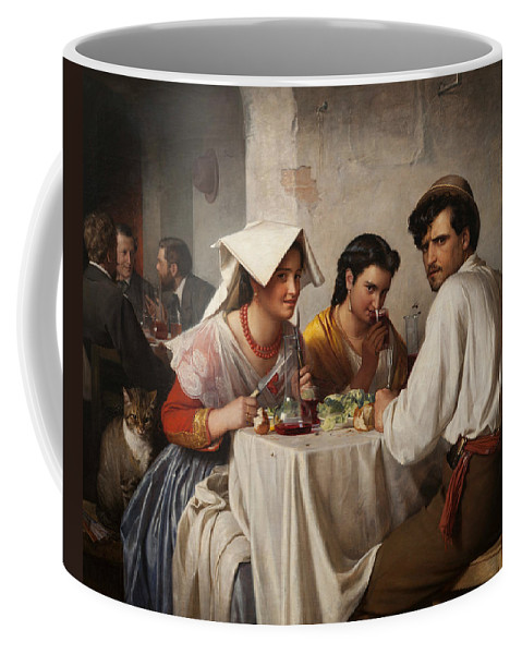 Carl Bloch Coffee Mug featuring the painting In A Roman Osteria by Carl Bloch