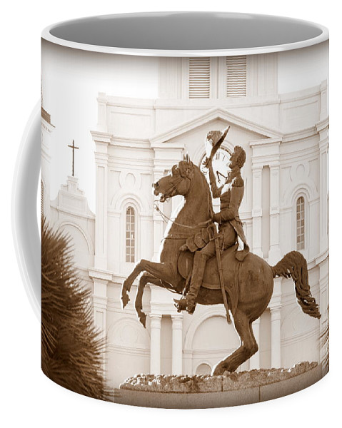Jackson Square Coffee Mug featuring the photograph Jackson Square Statue In Sepia by Carol Groenen