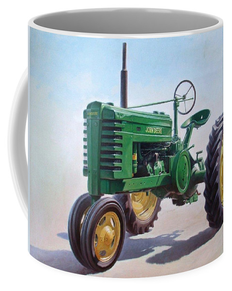 Tractor Coffee Mug featuring the painting John Deere Tractor by Hans Droog