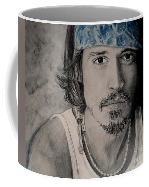 Depp Charcoal & Pastel Coffee Mug featuring the drawing Depp by Paula Soesbe