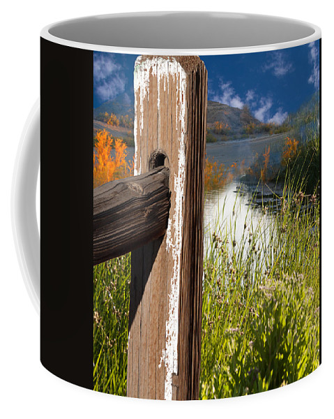 Agriculture Coffee Mug featuring the photograph Landscape With Fence Pole by Gunter Nezhoda