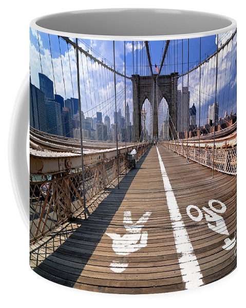 Bicycle Coffee Mug featuring the photograph Lanes For Pedestrian And Bicycle Traffic On The Brooklyn Bridge by Amy Cicconi