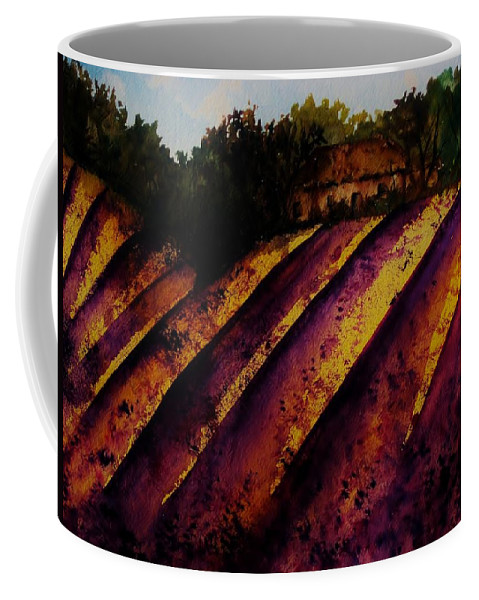 Lavender Coffee Mug featuring the painting Lavender Fields by Lil Taylor