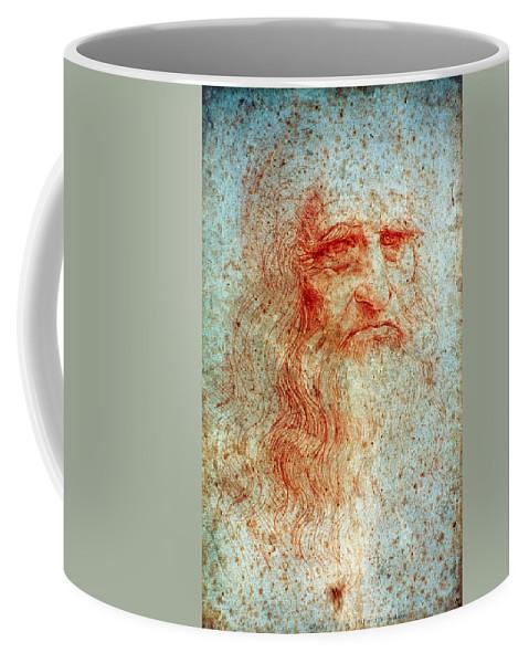 1514 Coffee Mug featuring the drawing Leonardo Da Vinci (1452-1519) by Granger