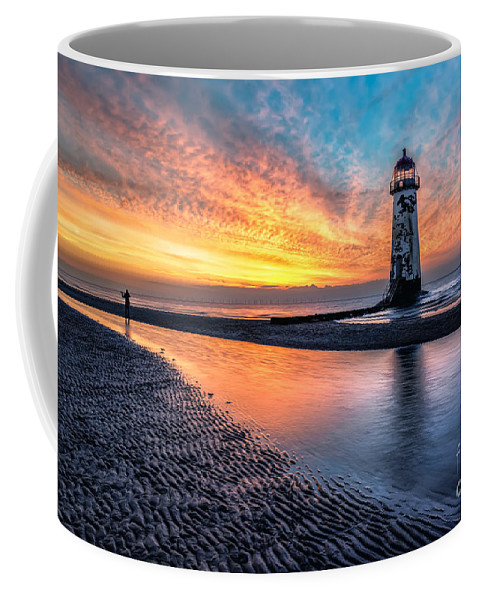 Sunset Coffee Mug featuring the photograph Lighthouse Sunset by Adrian Evans