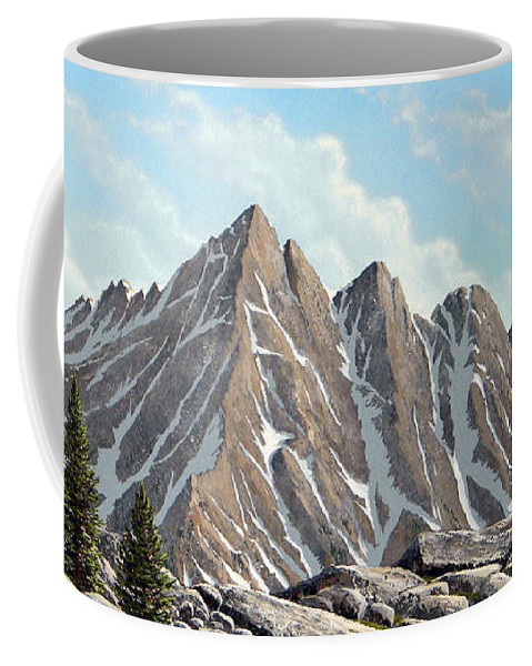 Landscape Coffee Mug featuring the painting Lofty Peaks by Frank Wilson