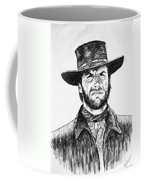 Wallpaper Buy Art Print Phone Case T-shirt Beautiful Duvet Case Pillow Tote Bags Shower Curtain Greeting Cards Mobile Phone Apple Android Drawing Clint Eastwood Sketch Man With No Name Blondie The Good The Bad And & The Ugly Hat Wild West American Outlaw Bounty Hunter Ball Pen Ink Portrait Hollywood Sergio Leone Spaghetti Western Movies Salman Ravish Khan American Coffee Mug featuring the drawing Clint Eastwood by Salman Ravish