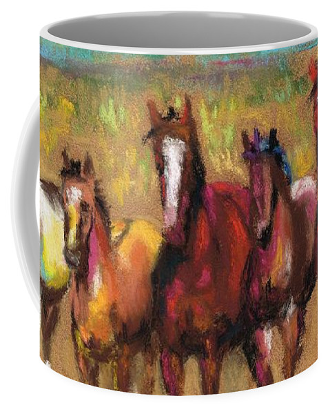 Horses Coffee Mug featuring the painting Mares And Foals by Frances Marino