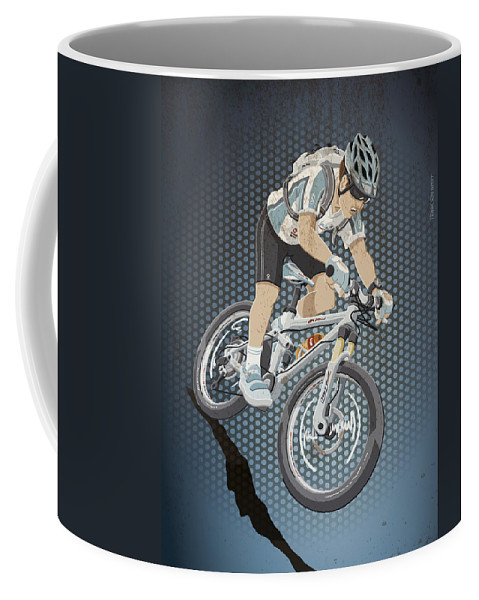 Cycling Coffee Mug featuring the digital art Mountainbike Sports Action Grunge Color by Frank Ramspott