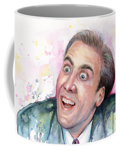 Nic Cage Coffee Mug featuring the painting Nicolas Cage You Don't Say Watercolor Portrait by Olga Shvartsur