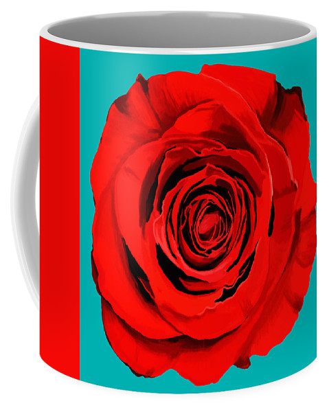 Beautiful Coffee Mug featuring the painting Painting Of Single Rose by Setsiri Silapasuwanchai