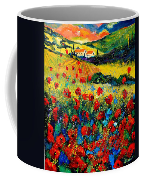 Flowersn Landscape Coffee Mug featuring the painting Poppies in Tuscany by Pol Ledent