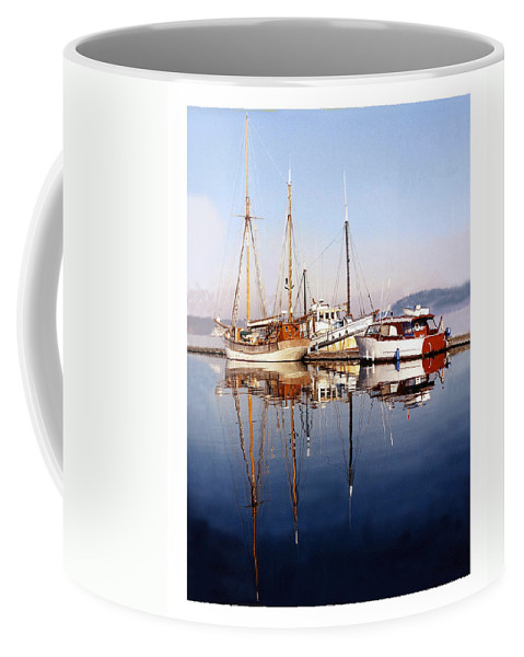 Yacht Portraits Coffee Mug featuring the photograph Port Orchard Marina Reflections by Jack Pumphrey