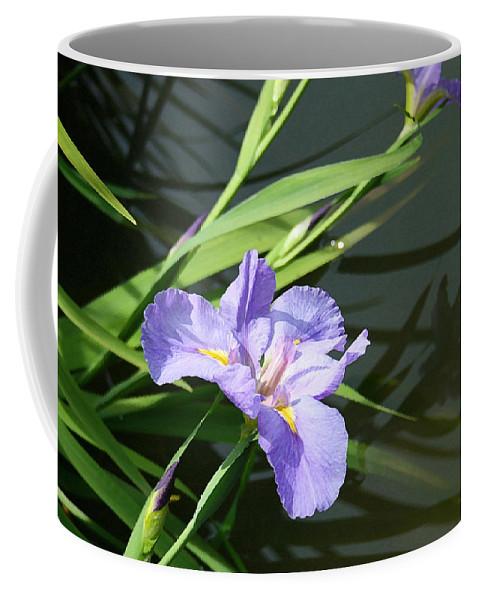 Purple Iris Reflection Coffee Mug featuring the painting Purple Iris Reflection by Ellen Henneke