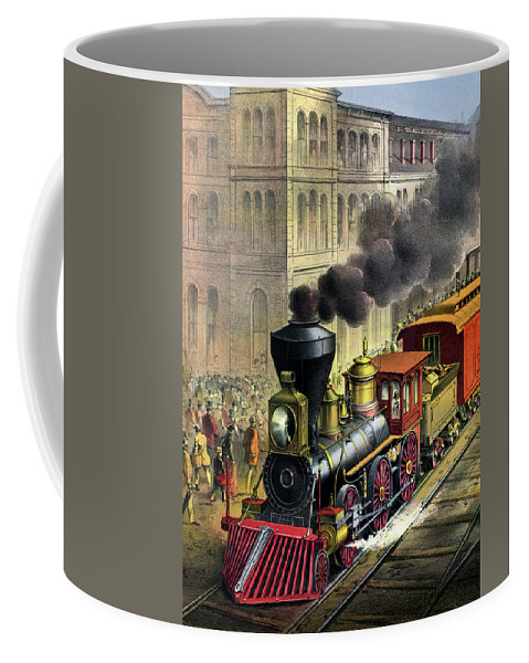 1874 Coffee Mug featuring the painting Railroad, 1874 by Granger