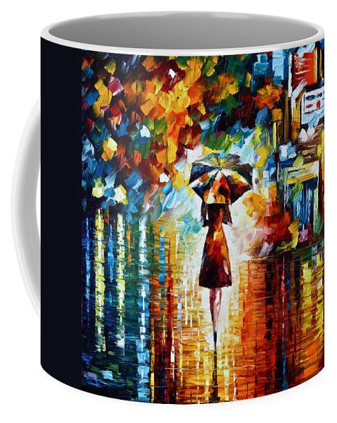 Rain Coffee Mug featuring the painting Rain Princess - Palette Knife Landscape Oil Painting On Canvas By Leonid Afremov by Leonid Afremov