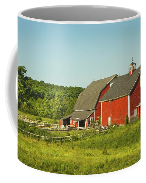 Farm Coffee Mug featuring the photograph Red Barn And Fence On Farm In Maine by Keith Webber Jr