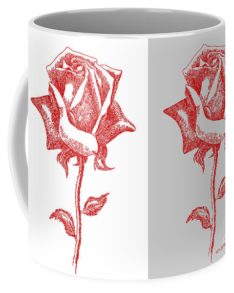 Black Coffee Mug featuring the painting 2 Red Roses Poster by Gordon Punt