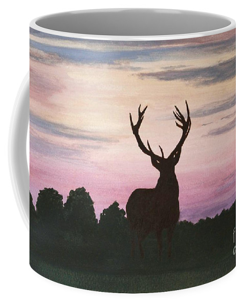 Animal Coffee Mug featuring the painting Red Stag At Dusk by Shirley Miller