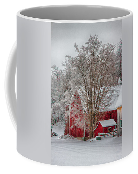 Scenic Vermont Photographs Coffee Mug featuring the photograph Red Vermont Barn by Jeff Folger