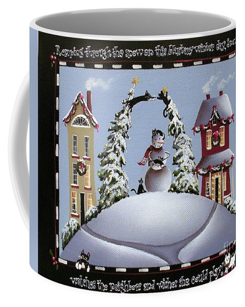 Art Coffee Mug featuring the painting Romping Through The Snow by Catherine Holman
