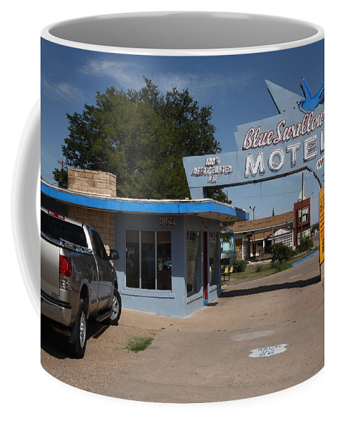 66 Coffee Mug featuring the photograph Route 66 - Blue Swallow Motel by Frank Romeo
