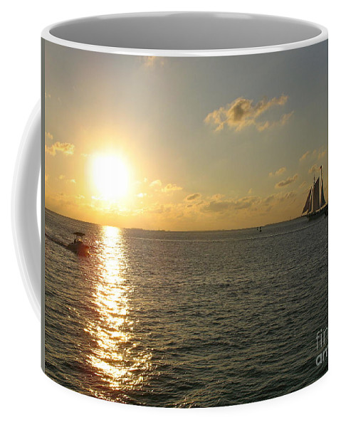 Sailing Coffee Mug featuring the photograph Sailing Into The Sunset - Key West by Christiane Schulze Art And Photography