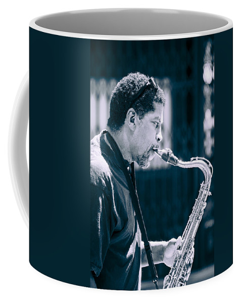 Saxophone Coffee Mug featuring the photograph Saxophone Player by Carolyn Marshall