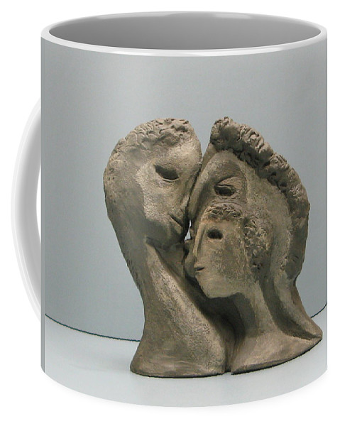 Originals Coffee Mug featuring the sculpture 2 Sided Family And Empty Nest by Nili Tochner