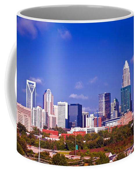 North Coffee Mug featuring the photograph Skyline Of Uptown Charlotte North Carolina At Night by Alex Grichenko