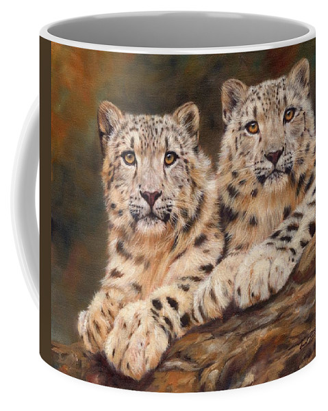 Snow Leopards Coffee Mug featuring the painting Snow Leopards by David Stribbling