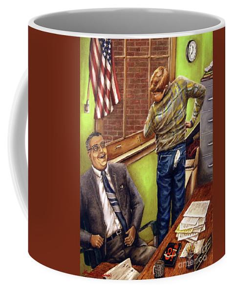 Linda Simon Coffee Mug featuring the painting Stars Stripes And Exposure by Linda Simon
