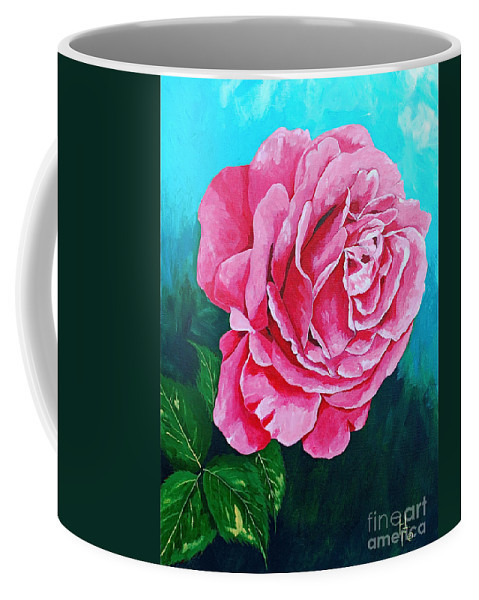 Red Rose Pink Rose Coffee Mug featuring the painting Summer Rose by Herschel Fall