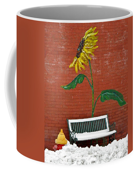 Winter Coffee Mug featuring the photograph Sunflower And Snow by Chris Berry