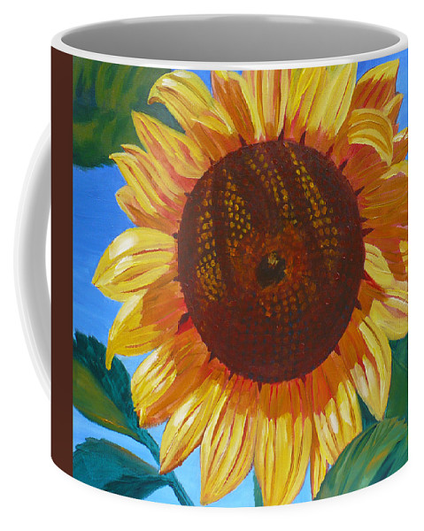 Sunflower Coffee Mug featuring the painting Sunflower by Janet Zeh