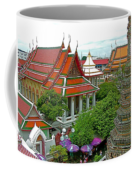 Temple Of The Dawn Coffee Mug featuring the photograph Temple Of The Dawn-wat Arun In Bangkok-thailand by Ruth Hager