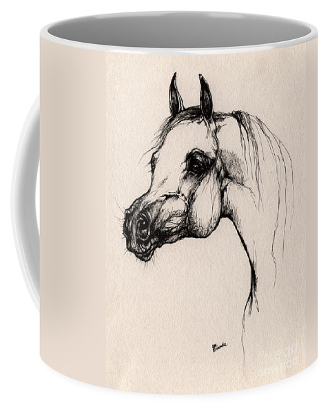 Arabian Horse Coffee Mug featuring the drawing The Arabian Horse by Angel Ciesniarska