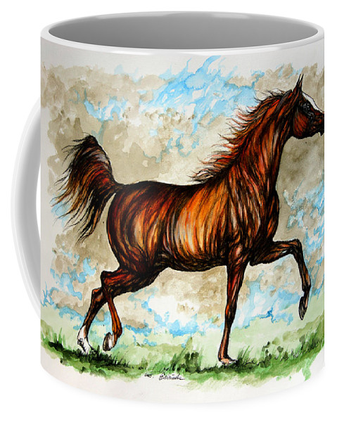 Horse Coffee Mug featuring the painting The Chestnut Arabian Horse by Angel Ciesniarska
