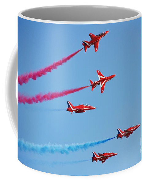 Red Coffee Mug featuring the photograph The Red Arrows by David Fowler