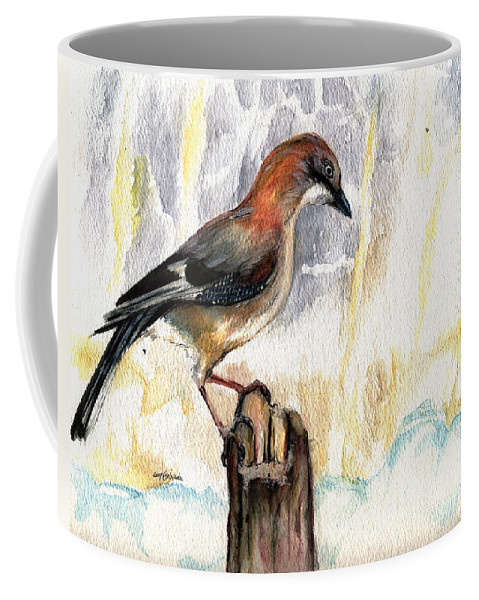 Jay Coffee Mug featuring the painting The Winter Tales by Angel Ciesniarska