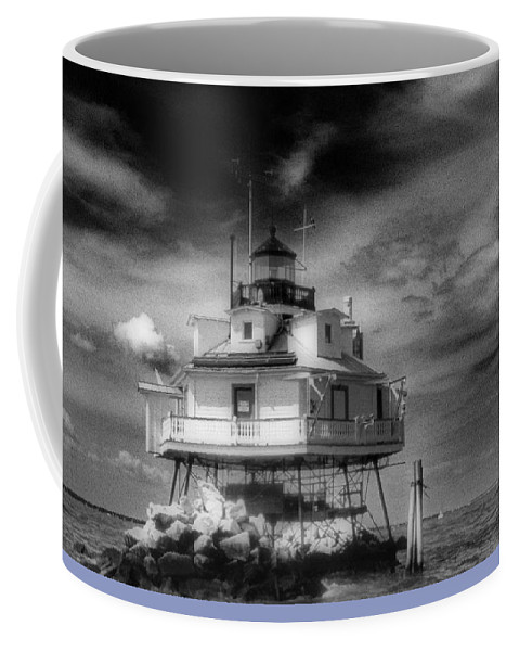 Md Coffee Mug featuring the photograph Thomas Point Shoal Lighthouse Black And White by Skip Willits