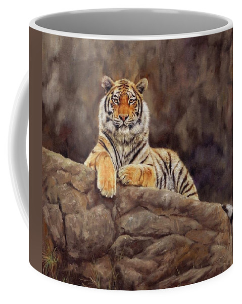 Tiger Coffee Mug featuring the painting Tiger by David Stribbling