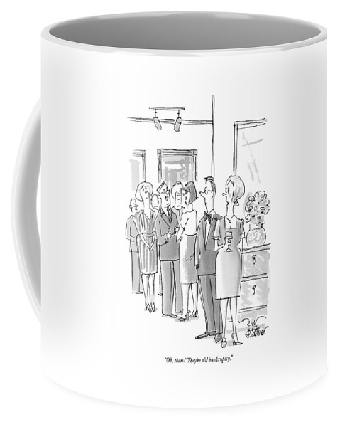 Money Problems Word Play Debt   (one Couple Talking About Others At A Party.) 121637 Pst Peter Steiner Coffee Mug featuring the drawing Oh, Them? They're Old Bankruptcy by Peter Steiner