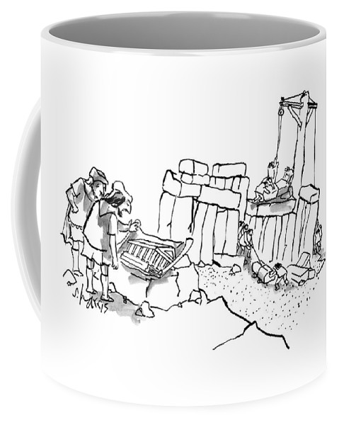 Stonehenge Coffee Mug featuring the drawing New Yorker February 23rd, 2009 by Sidney Harris