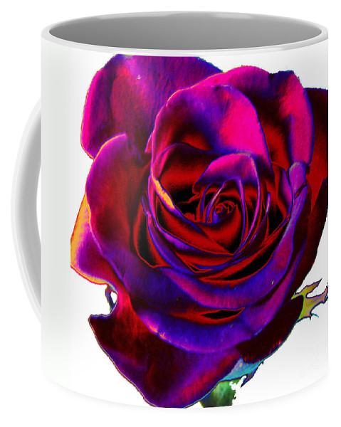 Velvet Coffee Mug featuring the digital art Velvet Rose by Carol Lynch
