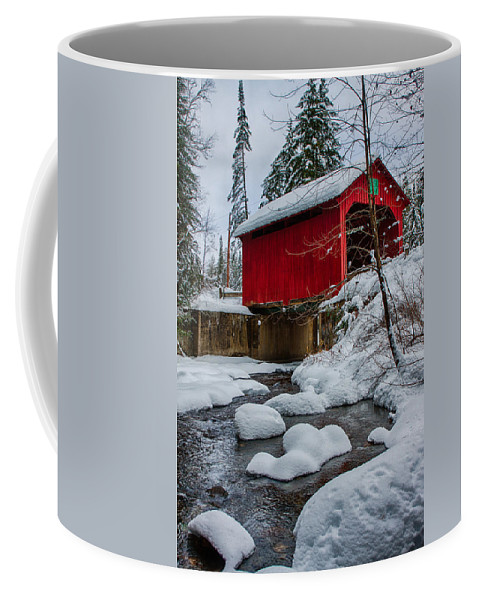 Covered Bridge Coffee Mug featuring the photograph Vermonts Moseley Covered Bridge by Jeff Folger
