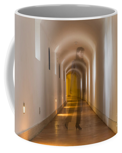 Corridor Coffee Mug featuring the photograph Walking In A Tunnel by Mats Silvan