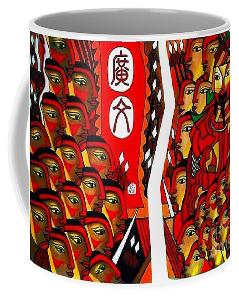Figurative Paintings Coffee Mug featuring the painting Warriors by Fei A