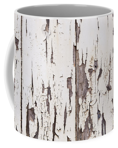 Abstract Coffee Mug featuring the photograph Weathered Paint On Wood by Tim Hester