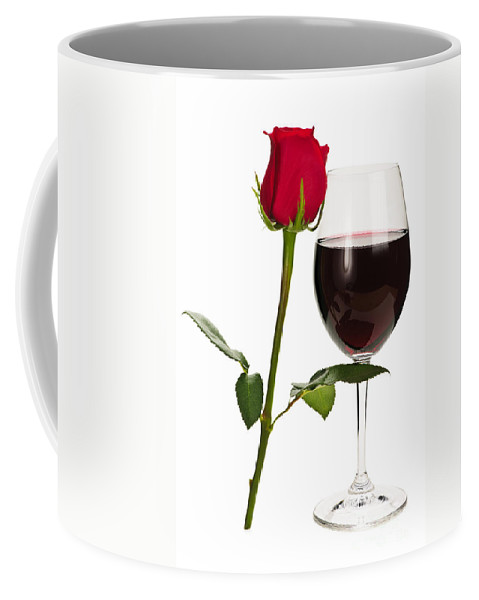 Wine Coffee Mug featuring the photograph Wine With Red Rose by Elena Elisseeva